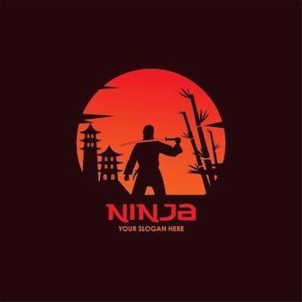 Plantilla de vector plano ninja de noche
