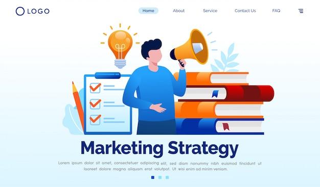 Plantilla de vector plano de página de aterrizaje de estrategia de marketing