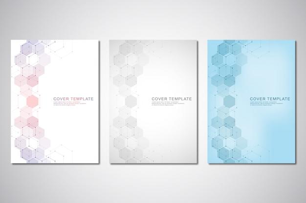 Plantilla de vector para portada o folleto, con patrón de hexágonos y antecedentes médicos