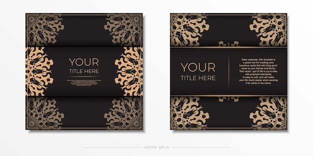 Plantilla de vector presentable para postal de diseño de impresión en color negro con adornos árabes.