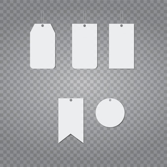 Plantilla de vector realista de etiqueta de precio de papel en blanco