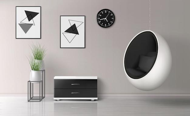 Plantilla de vector realista interior de sala de estar