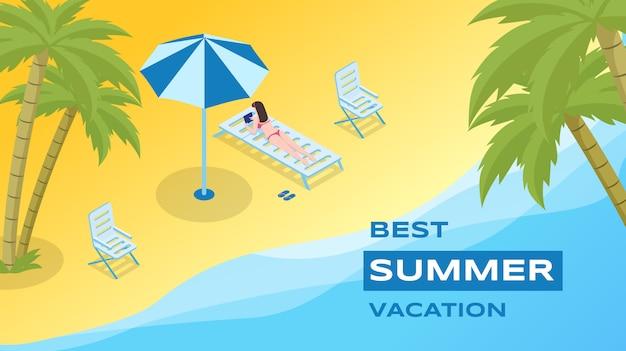 Plantilla de vector de recreación de vacaciones de verano. estación de mar, temporada de vacaciones publicitaria.