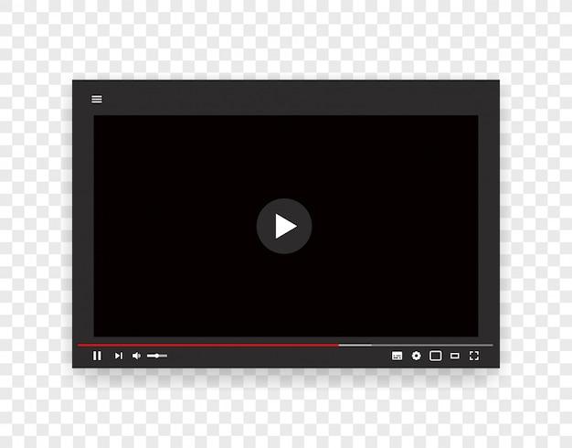 Plantilla de vector de reproductor de video web. maqueta de flujo de internet