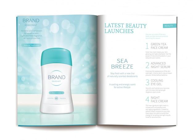 Plantilla de vector para la revista de cosméticos brillante.