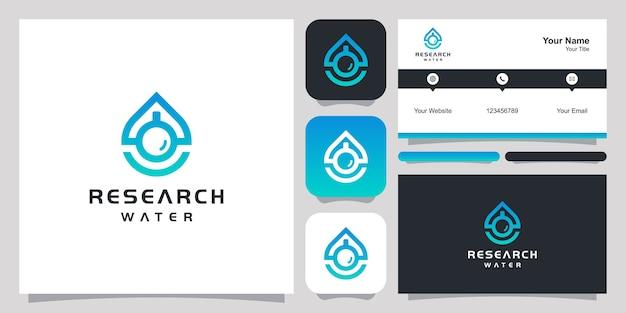 Plantilla de vector de símbolo de icono de diseño de logotipo de agua de investigación. diseño de logotipo y diseño de tarjetas de presentación.