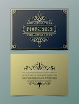 Plantilla de vector de tarjeta de felicitación de adorno vintage. invitación de boda retro