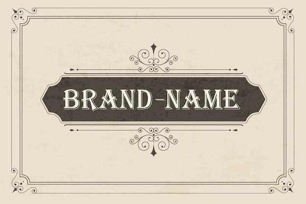 Plantilla de vector de tarjeta de felicitación de adorno vintage.