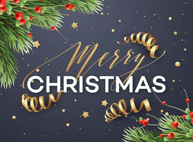 Plantilla de vector de tarjeta de felicitación de feliz navidad. letras de feliz navidad con serpentinas, purpurina, estrellas. ramas de abeto realistas y ramitas de muérdago. cartel de vacaciones de navidad, diseño de banner