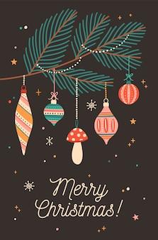 Plantilla de vector de tarjeta de felicitación festiva de navidad