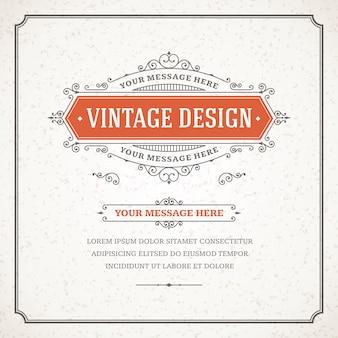 Plantilla del vector de la tarjeta de felicitación del ornamento del vintage