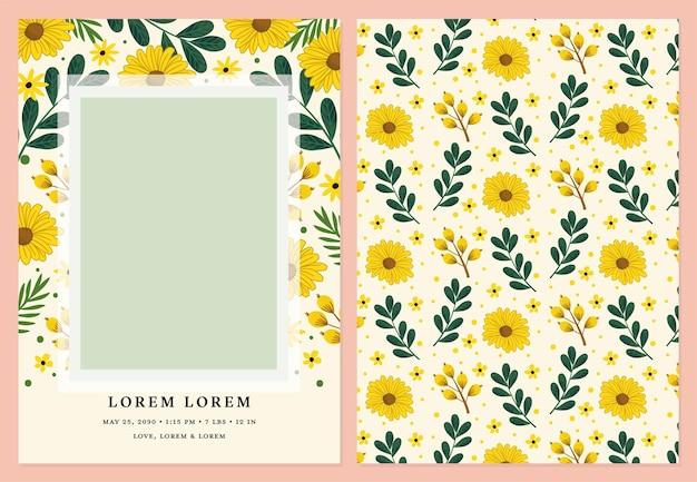 Plantilla de vector de tarjeta fotográfica para anuncios de nacimiento cumpleaños y baby showers con flores de sol