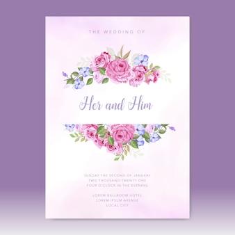 Plantilla de vector de tarjeta de invitación de boda simple con hermosas flores
