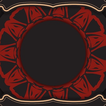 Plantilla vectorial para diseño de impresión postal colores negros con patrones griegos. vector de preparación de la tarjeta de invitación con lugar para el texto y el ornamento.