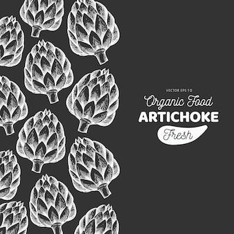 Plantilla vegetal de alcachofa. mano dibuja la ilustración de alimentos en la pizarra. marco vegetal de estilo grabado. banner botánico retro.