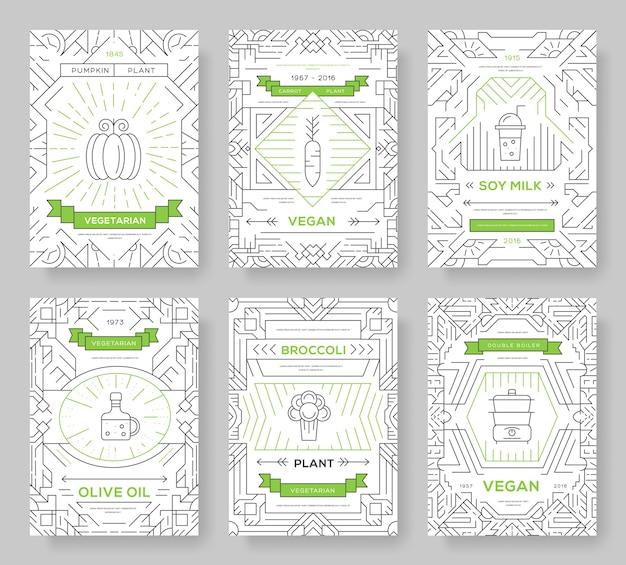Plantilla vegetal de flyear, revistas, carteles, portada de libro, banners.concepto de invitación vegetariana