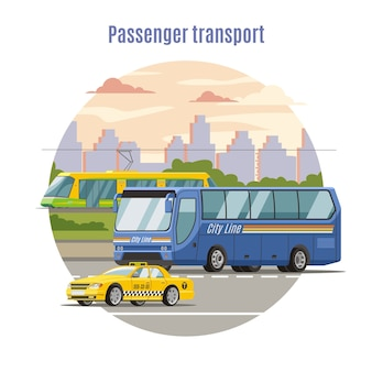 Plantilla de vehículos públicos urbanos de pasajeros