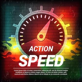 Plantilla de velocidad concepto de conducción abstracta cartel deportivo indicador de combustible del velocímetro