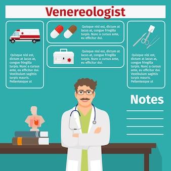Plantilla de venereología y equipamiento médico.