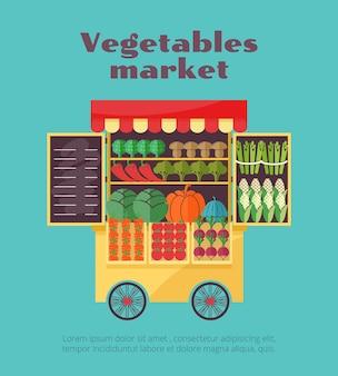 Plantilla de venta ambulante del mercado de verduras de granja