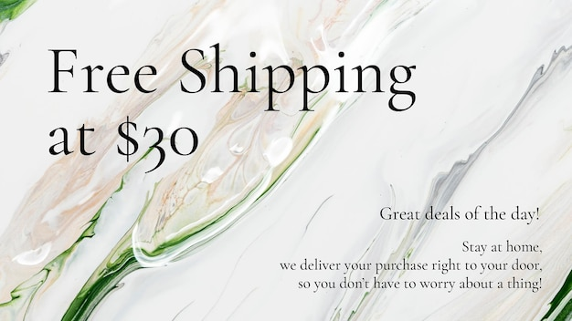 Plantilla de venta de arte de mármol envío gratis para banner de blog de moda