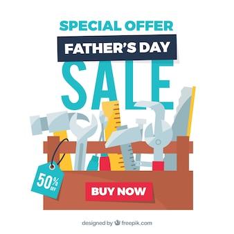 Plantilla de venta de día del padre con caja de herramientas