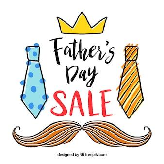 Plantilla de venta del día del padre con elementos de ropa