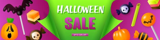 Plantilla de venta de halloween con golosinas festivas
