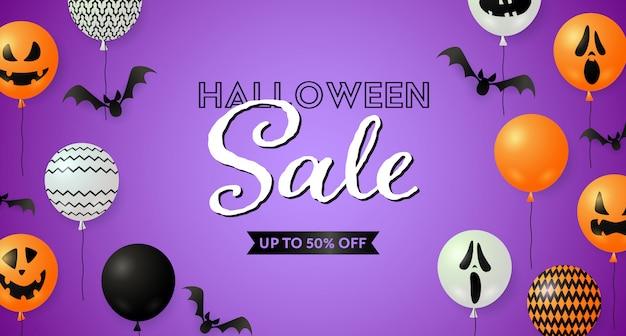 Plantilla de venta de halloween con murciélagos y globos