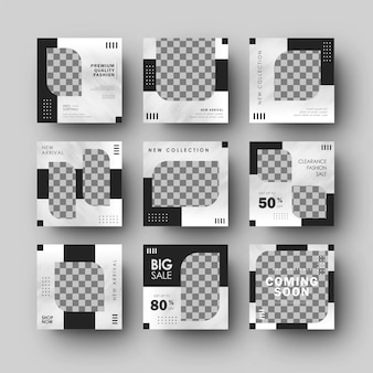 Plantilla de venta de moda de banner de instagram de medios sociales negros minimalistas