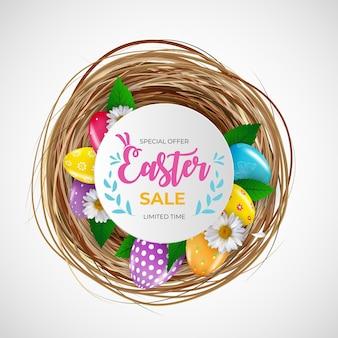 Plantilla de venta de pascua con huevos de pascua realistas en 3d.