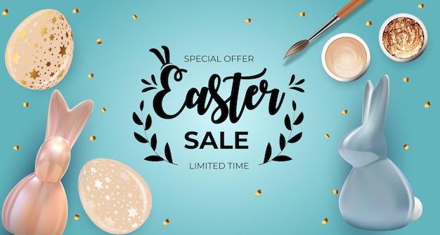 Plantilla de venta de pascua con pintura y huevos de pascua realistas 3d.