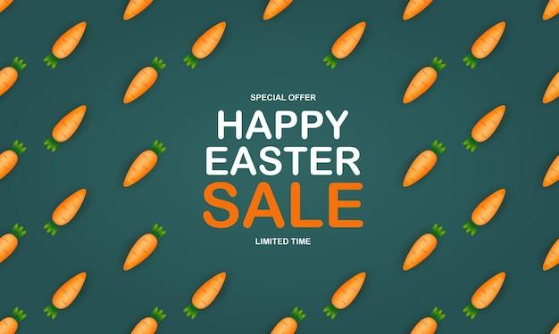 Plantilla de venta de pascua con zanahoria linda 3d