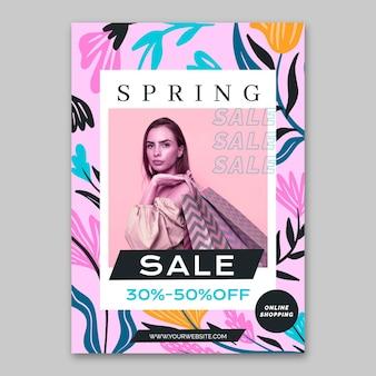 Plantilla de venta de primavera de cartel de diseño plano