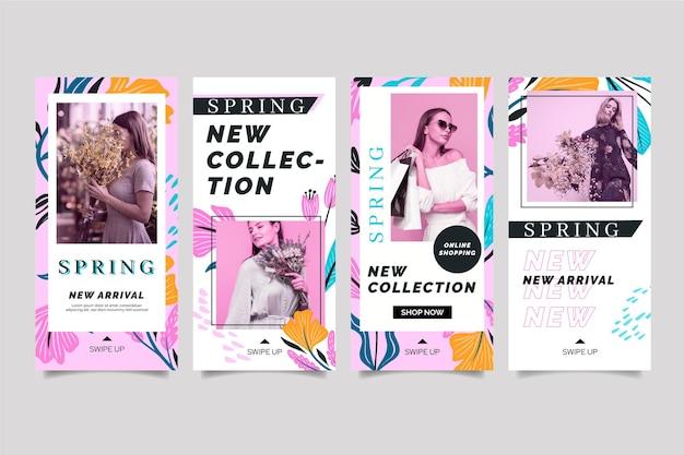 Plantilla de venta de primavera de historias de redes sociales de diseño plano