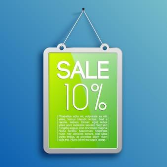Plantilla de venta promocional con texto y una tasa de descuento del diez por ciento en la ilustración de marco colgante verde
