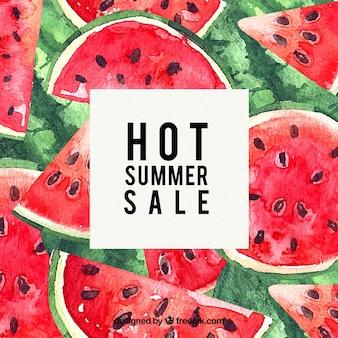 Plantilla de venta de verano con sandias en textura de acuarela