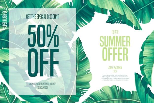 Plantilla de venta de verano tropical