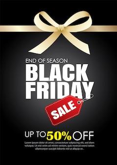 Plantilla de venta viernes negro con cinta dorada
