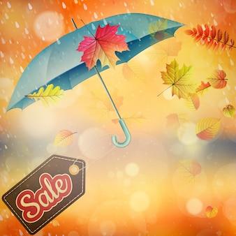 Plantilla de ventas de otoño sobre un fondo suave, shalow dof