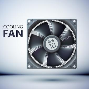 Plantilla de ventilador de computadora realista con aspas de metal