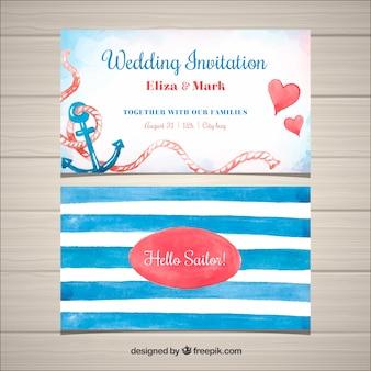 Plantilla veraniega de invitación de boda en acuarela