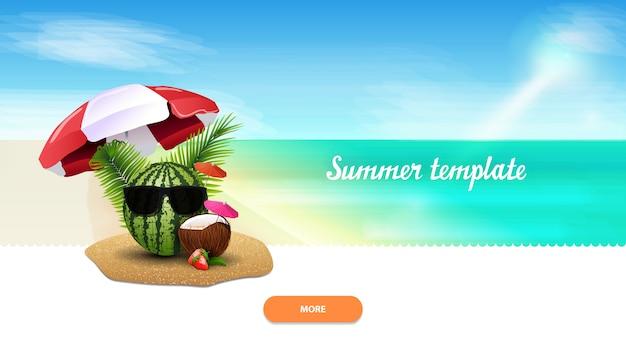 Plantilla de verano para tu creatividad con sandía en copas.