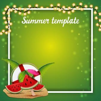 Plantilla de verano para tus artes con guirnalda y lugar para texto.