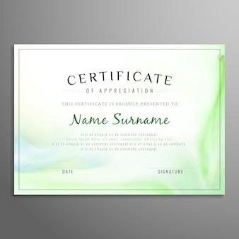 Plantilla verde de certificado de apreciación