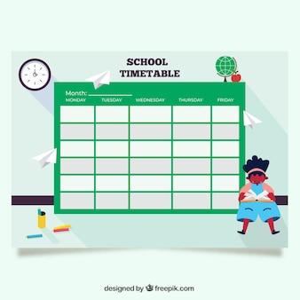 Plantilla verde de horario escolar de vuelta al cole