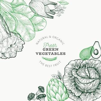 Plantilla de verduras verdes.