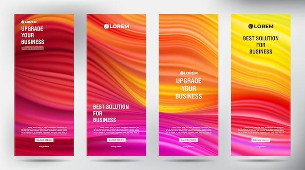 Plantilla vertical enrollable de flujo de color de malla. conjunto de diseño de plantilla de soporte de banner enrollable