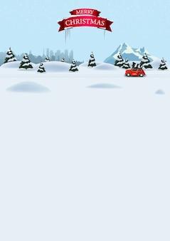 Plantilla vertical de navidad para postal o descuento con bosque de invierno de pinos
