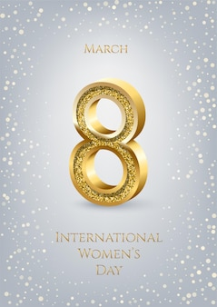 Plantilla vertical de la tarjeta de felicitación del día internacional de la mujer, número ocho de oro con texto y confeti sobre fondo gris.